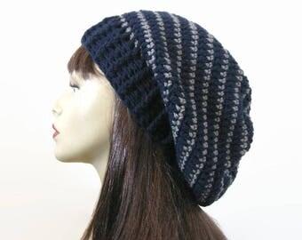 Crochet Slouchy Hat Blue Knit Beanie Navy Blue Striped Slouchy Hat Dark Blue stripe Slouchy Tam Blue Crochet Hat Dark Blue Beanie Knit Tam
