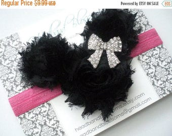 SALE MINNIE MOUSE Black Chiffon Flowers with Rhinestone Bow on Hot Pink Elastic Headband - Newborn Baby - Photo Prop Disney Vacation Headban