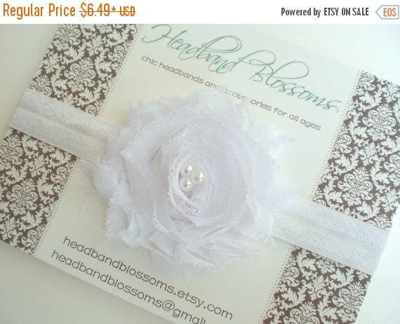 SALE SHOP BEST Seller - White Shabby Frayed Chiffon Flower Elastic Headband - Newborn Baby Girl - Photo Prop Baptism Christening - No Slip