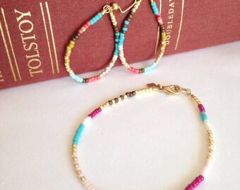 beaded hoop earrings, Extra thin beaded earrings, thin beaded bracelet; boho chic, bead jewelry, simple bracelet, modern jewelry