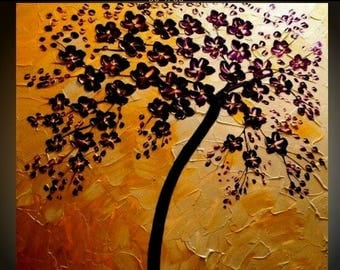SALE ORIGINAL 3ft x 3ftLandscape Abstract  gold/silver Cherry Blossom Tree Oil Painting Textured Gallery Fine Art -Nicolette Vaughan Horner