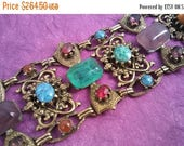 Now On Sale Vintage Unsigned Selro Red Green Purple Gold Rhinestone Chunky Wide Bracelet - Retro 1950's 1960's- High End Hard To Find Jewelr