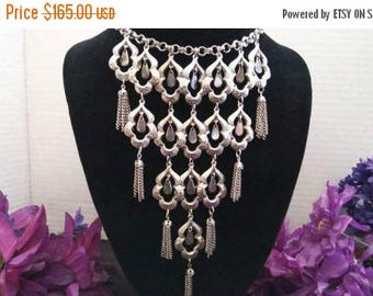 On Sale Stunning High End Statement Bib Necklace - Mid Century 60's Rare Collectible Runway Fringe Tassel Jewelry - Old Hollywood Glam