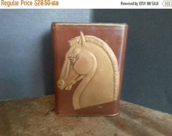 On Sale Vintage Bookends Horse Leather Brown Gold Gilt Stallion Design, Art Deco Home Decor, 1930's 1940's