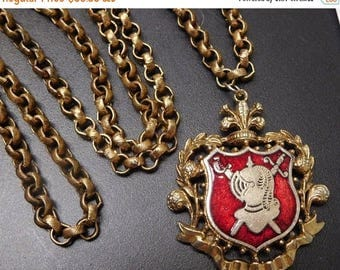 On Sale Vintage Knight Shield Royal Coat Of Arms Necklace, Red Enamel Statement Jewelry, Mid Century Collectibles,  Retro Necklace, 1960's