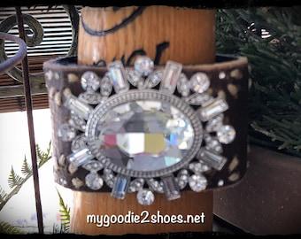 Rhinestone Brooch Bracelet