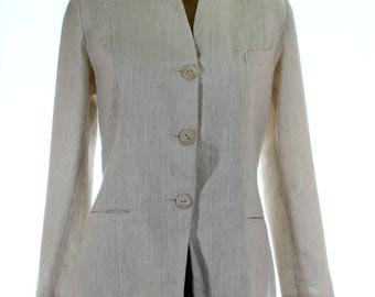 Vintage 80s Cream Cotton Linen Boucle Jacket Fitted Blazer UK 12 US 10