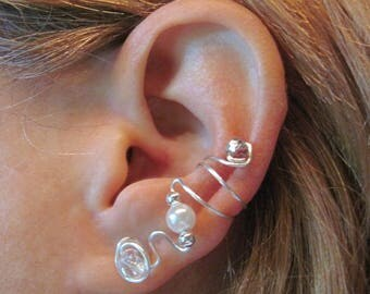 """Non Pierced Ear Cuff  """"Bliss"""" Cartilage Conch Cuff Wedding Prom"""