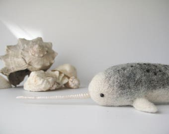 Magical Needle Felt Narwhal Soft Sculpture