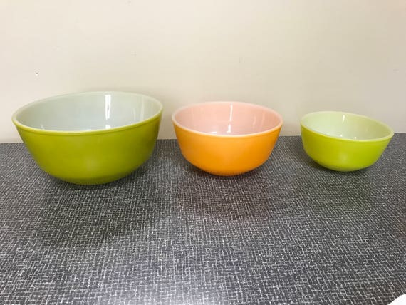 Anchor Hocking Fire King Mixing Bowl Set of 3 Olive Lime Green & Orange