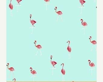 12% off thru July FLAMINGOS pink on aqua blue cotton print by the yard Windham Fabric 42278-5 bird tropical