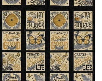 20 % off thru 8/20 Moda fabric panel BEE INSPIRED Deb Strain butterflies flowers honey bees hives sayings words on black 19790-13