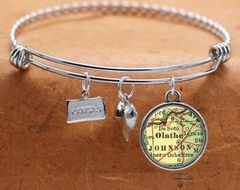 Olathe KS Map Charm Bracelet State of Kansas Bangle Cuff Bracelet Vintage Map Jewelry Stainless Steel Bracelet Gifts For Her