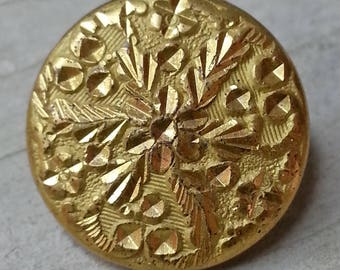 Bright Antique 1800s Golden Age Heavy Gilt Brass Button ~ Hand Stamped & Chased ~ 5/8 inch 16mm ~ Robinson Extra Back Mark ~ Grammys Buttons