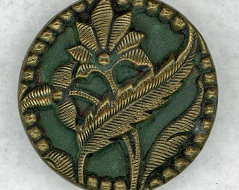 Antique Metal Picture Button ~ Beautiful Openwork Brass Flowers & Leaves on Painted Green Background ~ 1-1/8 inch 29mm ~ Grammys Buttons