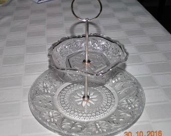 Indiana Clear Glass 2 Tier Serving Tray In The Sandwich Pattern