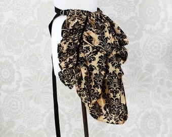 """Steampunk Siren Bustle Overskirt -- Black & Gold Damask Taffeta, Mini Length -- Fits up to 50"""" Waist/Upper Hip"""