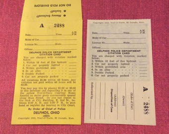 1953 Traffic ticket and payment envelope great gag gift