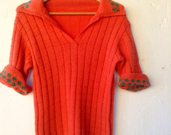 Salmon pink and green hand knitted vintage women's woollen jumper