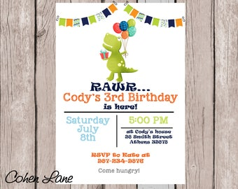 Dinosaur Birthday Invitation.  Dinosaur Invitation.  Dino Birthday Party Invite.  Dinosaur Party Invite. Dinosaur Invite. Digital Invite.