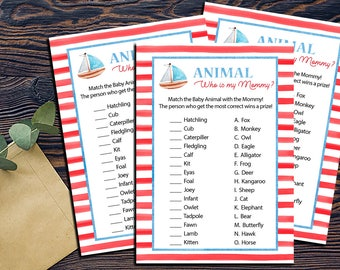 Nautical Animal Who is My Mommy Shower Games-DIGITAL INVITATION-Printable Invite Card - Ahoy Ocean Sailboat Animal Mommy Game Shower Game