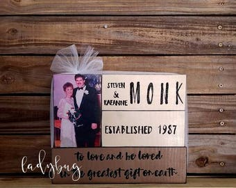 To love and be loved is the greatest gift on earth.  Anniversary set of blocks. Love. Home decor. Rustic. Set of blocks by Ladybug