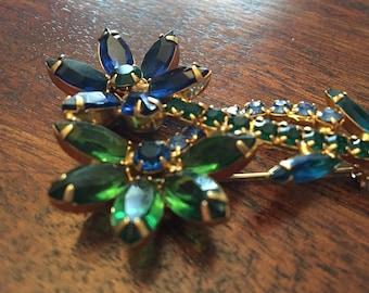 Large Vibrant Vintage Blue Green Flower Brooch Pin