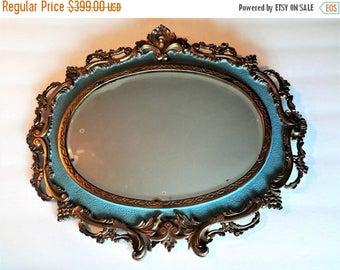 ON SALE Antique National Brass & Iron Works Victorian Rococo Mirror ~ Circa 1890's ~ Blue Edging N.B. I.W.