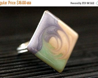 SUMMER SALE Swirl Diamond Ring. Silver Statement Ring in Sky Blue, Aqua and Creme. Adjustable Ring. Handmade Jewelry.