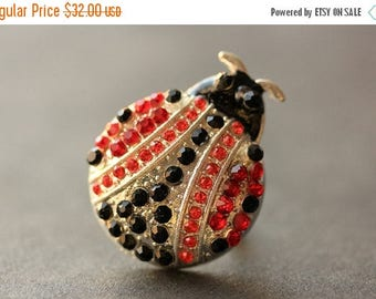 SUMMER SALE Rhinestone Ladybug Ring. Rhinestone Ring. Lady Bug Ring. Silver Ring. Ladybug Jewelry. Adjustable Ring. Handmade Ring. Handmade