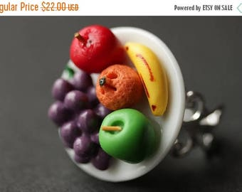 SUMMER SALE Food Ring. Fruit Plate Ring. Fruit Ring. Apple, Orange, Grape and Banana Ring. Silver Ring. Filigree Ring. Adjustable Ring. Hand