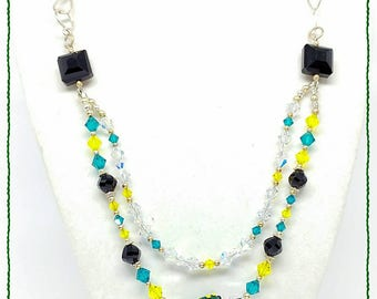 Butterfly Hand Crafted OOAK Necklace SRAJD Lampwork Teal Green Wings Yellow Swarovski Shimmer Sparkle