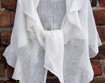 Linen Scarf White Organic Linen Women's Scarf Pure Linen Spring Clothing