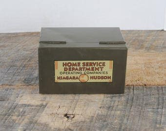 Vintage Index Card File Box Home Service Department Operating Companies Niagara Hudson