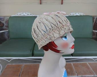 vintage women's nightcap boudoir crochet ribbon 1920's hat cottage chic textiles millinery flapper