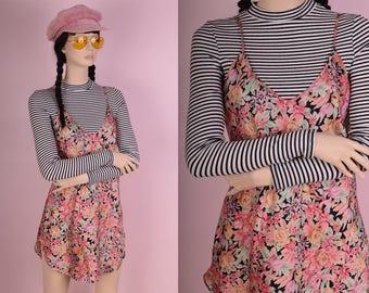 90s Floral Print Mini Slip Dress/ Medium/ 1990s