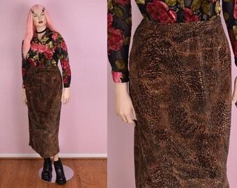 90s Animal Print Velour Skirt/ Large/ 1990s