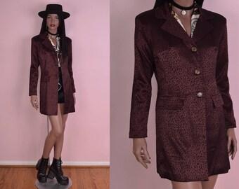 90s Brownish Burgundy Animal Print Coat/ US 8/ 1990s/ Jacket