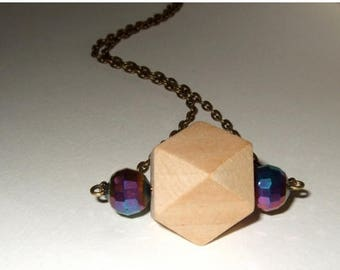 SALE Geometric Necklace, Wooden Bead Pendant, Pale Wood Necklace, Wood Bead Jewelry, 3D Block Necklace, Angular Bead, Natural Wood, Wood Pen