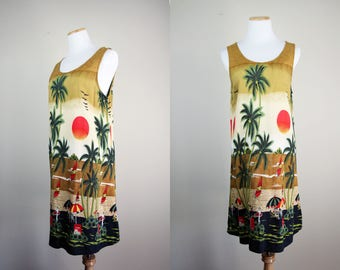 Souvenir Beach Dress + Vintage Novelty Print Sundress + Thailand Beach Dress + Sun Sunset Palm Trees + Beach Coverup Dress + Southeast Asia