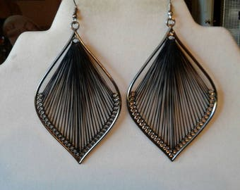 Black and Silver Large Leaf  Sexy Thread Boho, Chandlier, Native, Earrings Southwestern, Bohemian, Hippie Peruvian, Ready to Ship