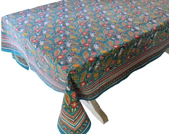 "Hand Block Printed Tablecloth - Floriana - 70"" x 108"""