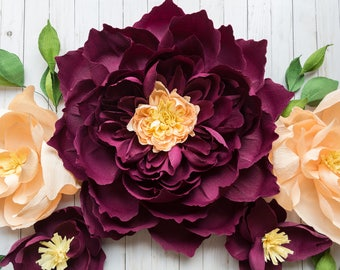 5 PC Giant Paper Flower Set with Greenery