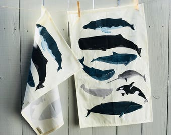 Whales Tea Towel, Hostess Gifts, Easy Christmas Gifts, Made to Order