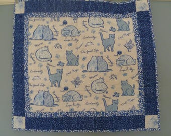 Blue and White Cat Quilt