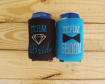 Team bride and team groom can cozies sets of 4-20 - diamond and bowtie-your choice of colors - wedding party - bridesmaids - groomsmen -