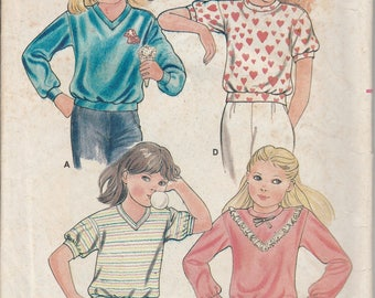 1980's Sewing Pattern Butterick 3449 children's tops size 3-4