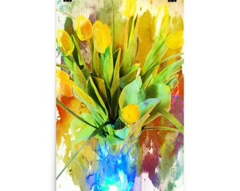 Bold Yellow Tulips in a Blue Vase, Still Life, Floral Art, Museum Quality Poster Print