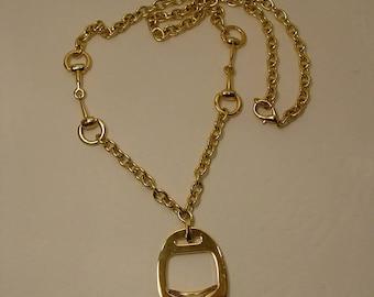 Vintage Snaffle Bit & English Stirrup / Iron Pendant Necklace