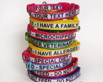 10mm wide handmade cat or kitten safety collar, personalised cat collar, custom text cat collar, medical cat collar, allergies cat collar